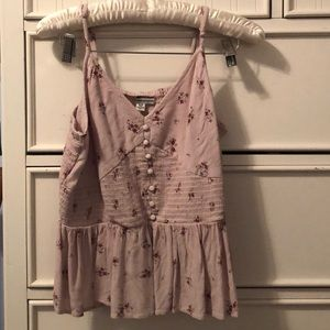 american eagle | pink with flowers tank top
